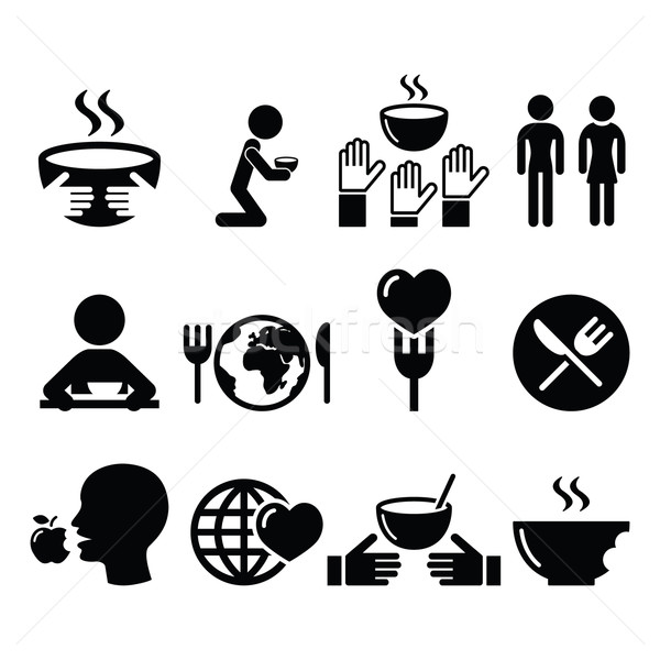 Hunger, starvation, poverty icons set  Stock photo © RedKoala
