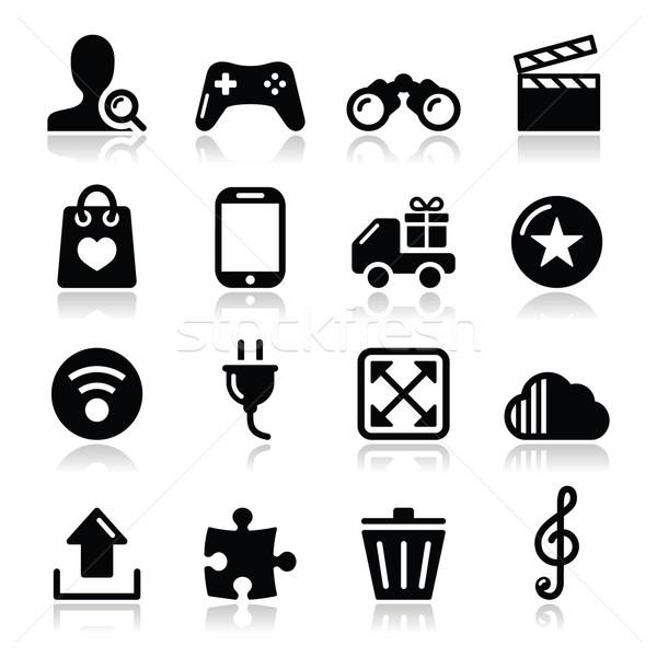 веб Интернет иконы набор вектора современных применение Сток-фото © RedKoala