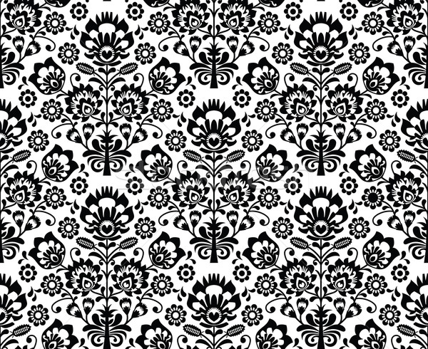 Seamless floral polish pattern in black and white Stock photo © RedKoala