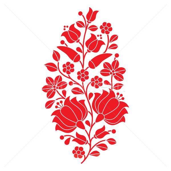 Hungarian red folk pattern - Kalocsai embroidery with flowers and paprika  Stock photo © RedKoala