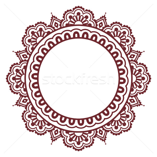 Indian Henna floral tattoo round pattern - Mehndi Stock photo © RedKoala