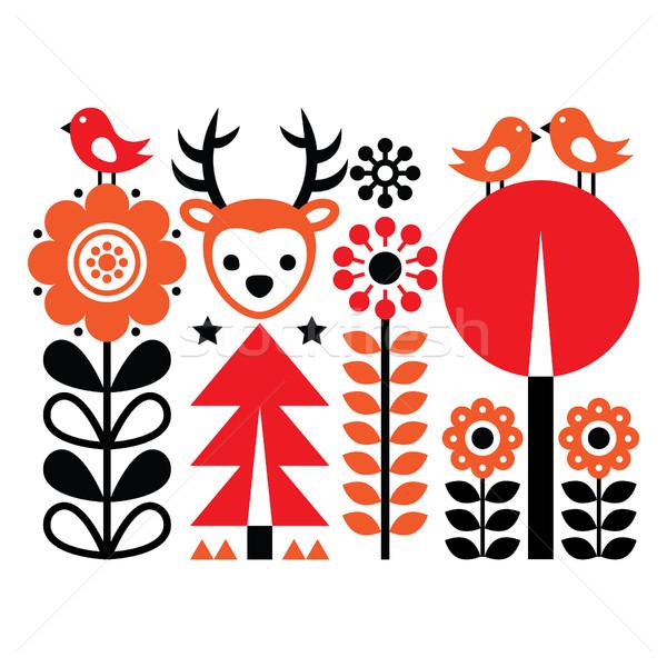 Finnish inspired folk art pattern - Scandinavian, Nordic style with flowers and animals Stock photo © RedKoala