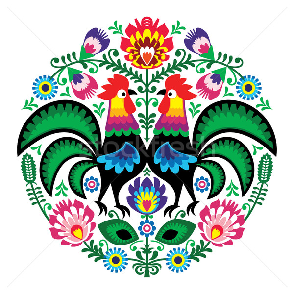 Polish folk art floral embroidery with roosters, traditional pattern - Wycinanki Lowickie  Stock photo © RedKoala