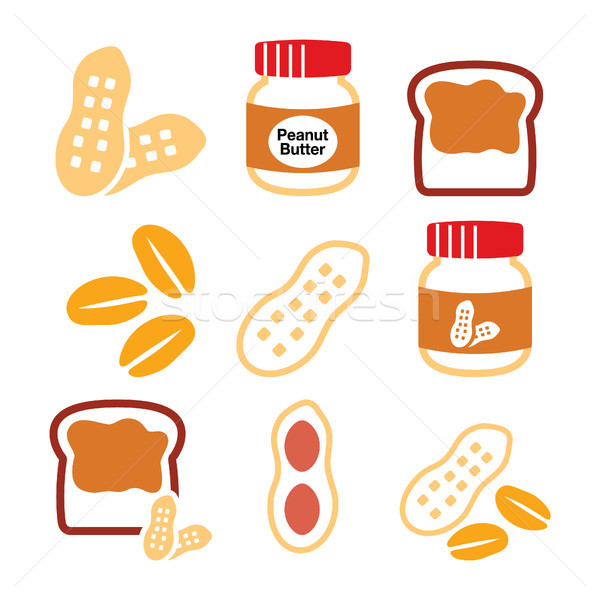 Peanuts, peanut butter - food vector icons set  Stock photo © RedKoala