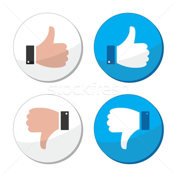 Thumb up and down like vector icon set Stock photo © RedKoala