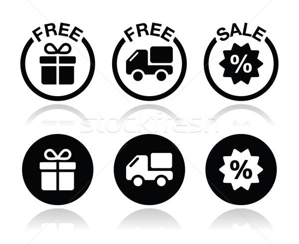 Free gift, free delivery, sale icons set Stock photo © RedKoala