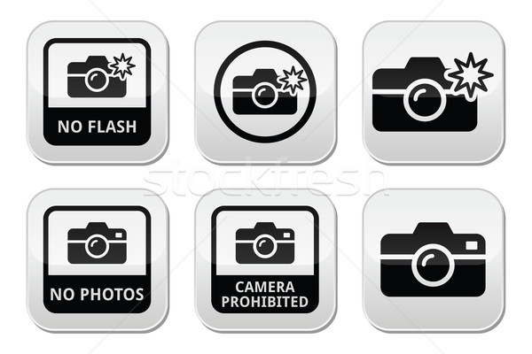 Geen foto's camera flash knoppen vector Stockfoto © RedKoala
