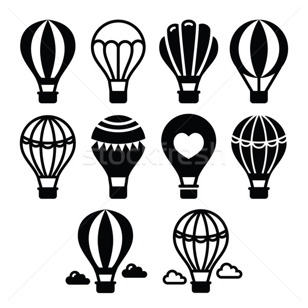Hot air balloon and clouds icons set  Stock photo © RedKoala