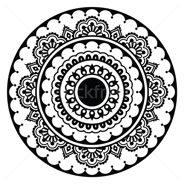 Mehndi, Indian Henna floral tattoo round pattern Stock photo © RedKoala