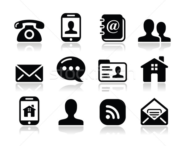 Contact black icons set - mobile, user, email, smartphone Stock photo © RedKoala