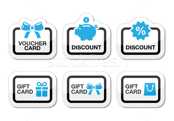 Voucher, gift, discount card vector icons set Stock photo © RedKoala