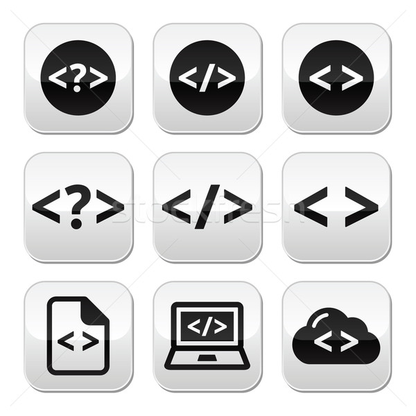 Programming code vector buttons set Stock photo © RedKoala