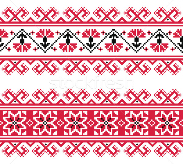 Ukrainian, Slavic red and grey traditional seamless folk embroidery pattern Stock photo © RedKoala