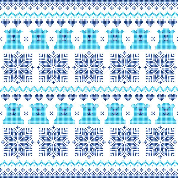 Winter, Christmas navy blue seamless pixelated pattern with polar bears Stock photo © RedKoala