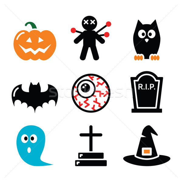 Halloween icons set - pumpkin, witch, ghost    Stock photo © RedKoala