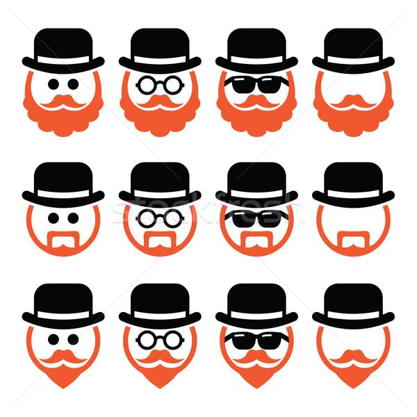 Foto stock: Hombre · sombrero · jengibre · barba · gafas