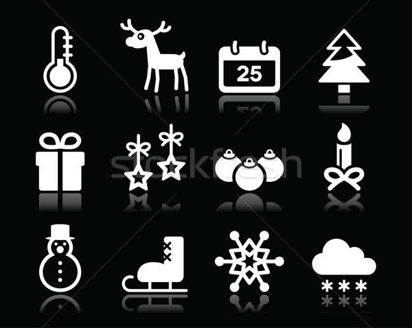 Christmas winter white icons set on black   Stock photo © RedKoala