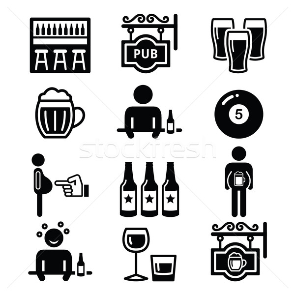 Pub, drinking alcohol, beer belly icons set    Stock photo © RedKoala