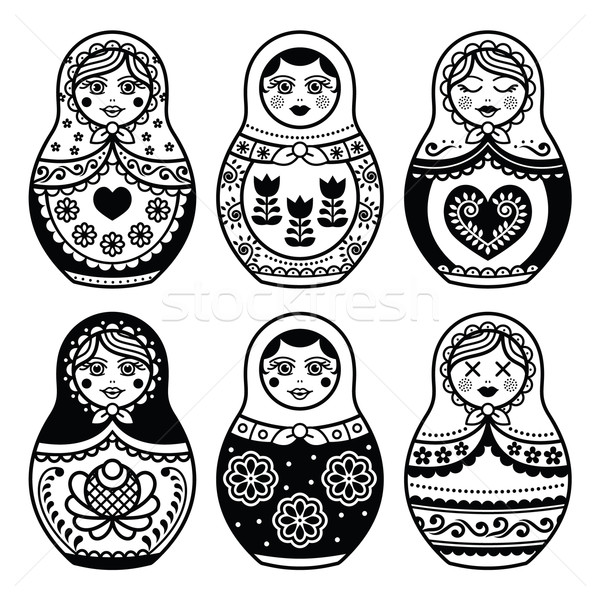 Matryoshka, Russian doll icons set  Stock photo © RedKoala