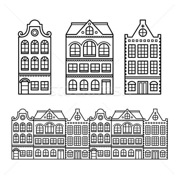 Сток-фото: голландский · домах · Амстердам · зданий · Голландии · Нидерланды