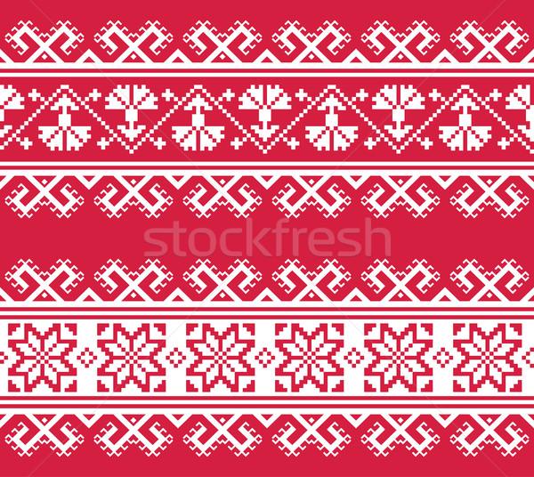 Sztuki haft wzór czerwony biały tradycyjny Zdjęcia stock © RedKoala