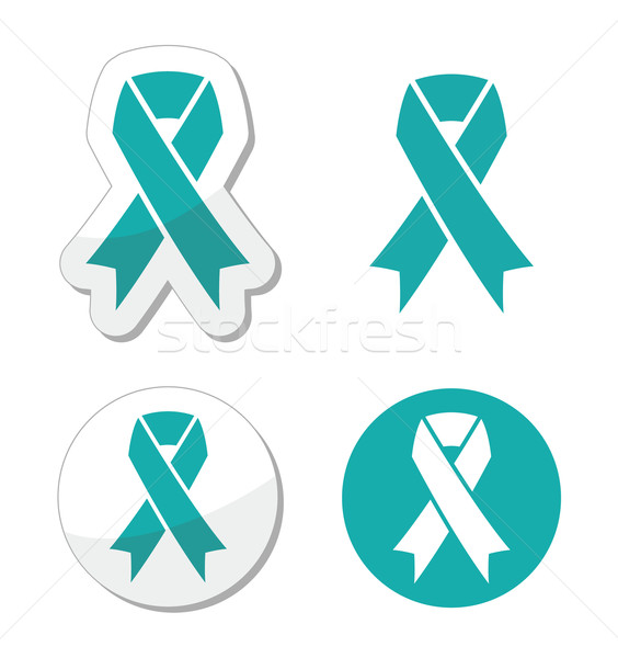 Teal ribbon - ovarian, cervical, and uterine cancers symbol Stock photo © RedKoala