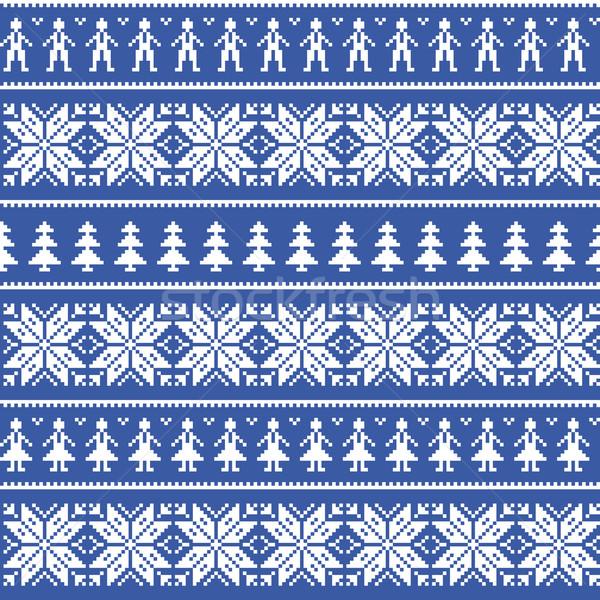 Nordic christman seamless pattern with men and women Stock photo © RedKoala
