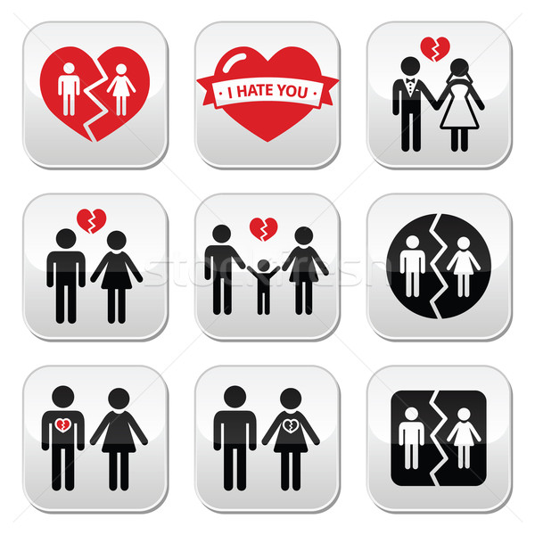 Couple breakup, divorce vector buttons set  Stock photo © RedKoala