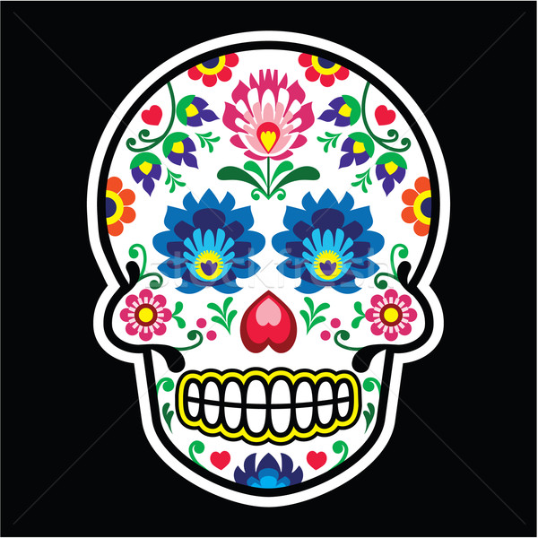 Mexican sugar skull - Polish folk art style - Wzory Lowickie, Wycinanka  Stock photo © RedKoala