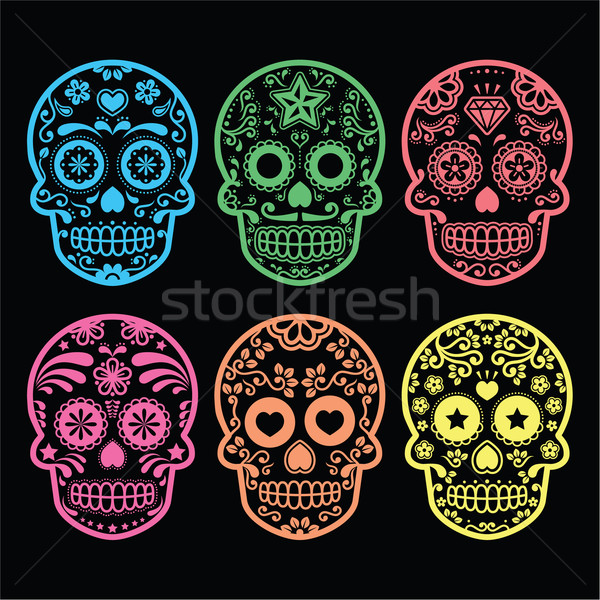 Mexican sugar skull, Dia de los Muertos icons on black Stock photo © RedKoala