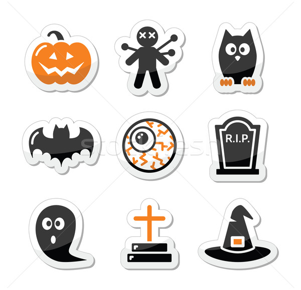 Halloween black icons set as labels  Stock photo © RedKoala