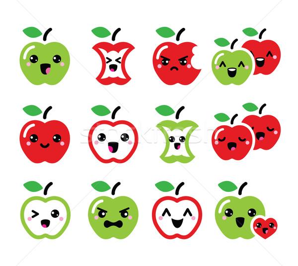 Aranyos piros alma zöld alma kawaii ikon szett Stock fotó © RedKoala