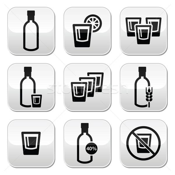 Vodka fuerte alcohol botones establecer botella Foto stock © RedKoala