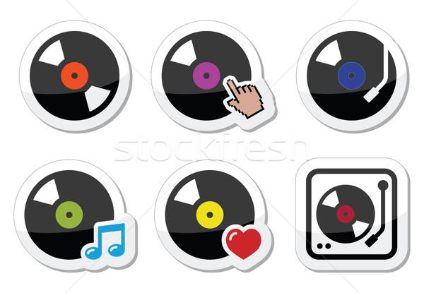 Vinyl record, DJ vector icons set Stock photo © RedKoala