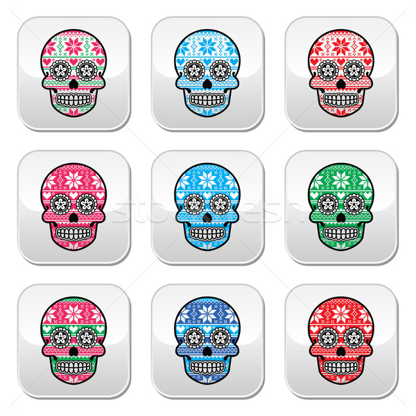 Mexican sugar skull buttons with winter Nordic pattern  Stock photo © RedKoala
