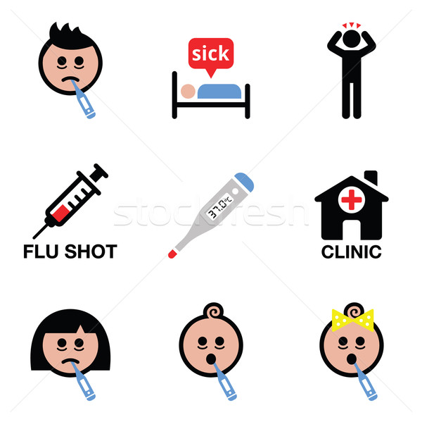 Cold, flu, sick people vector icons set Stock photo © RedKoala