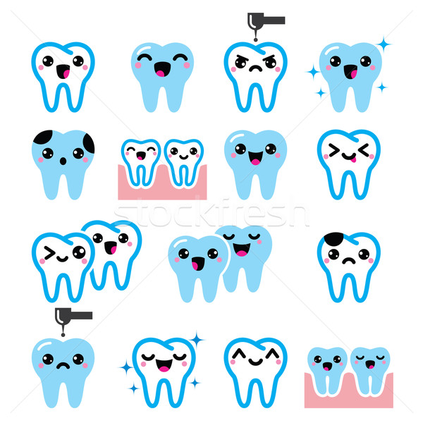 Kawaii diente cute dientes vector Foto stock © RedKoala