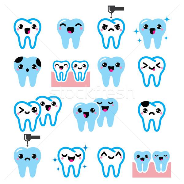 Kawaii tand cute tanden vector Stockfoto © RedKoala
