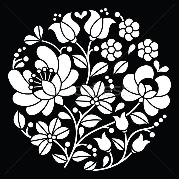 Kalocsai white embroidery - Hungarian round floral folk art pattern on black Stock photo © RedKoala
