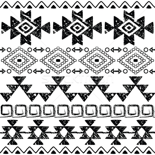 Seamless Navajo hand drawn print, retro Aztec pattern, Tribal design with scratches     Stock photo © RedKoala