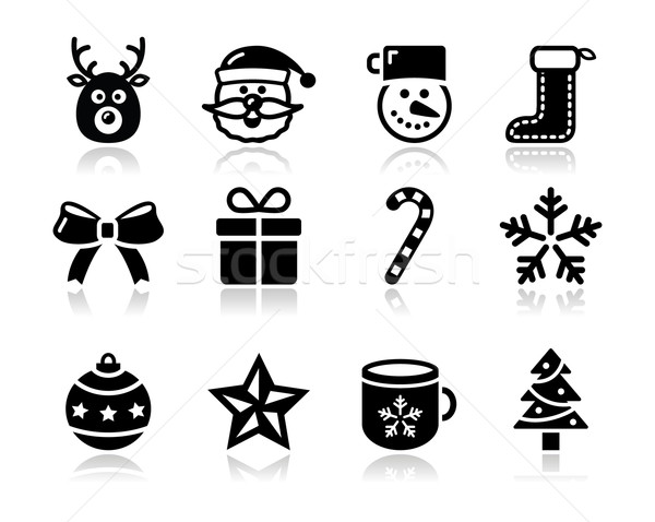 Christmas black icons with shadow set - santa, present, tree Stock photo © RedKoala