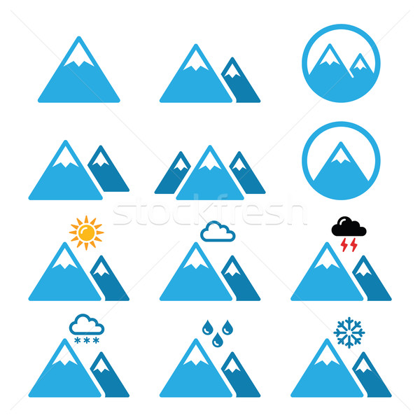 Stock photo: Mountain winter vector icons set