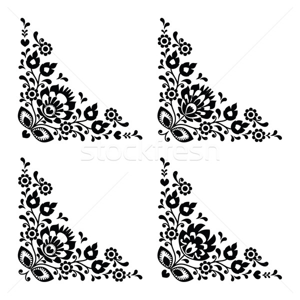 Corner border Polish floral folk embroidery pattern - wzory lowickie  Stock photo © RedKoala