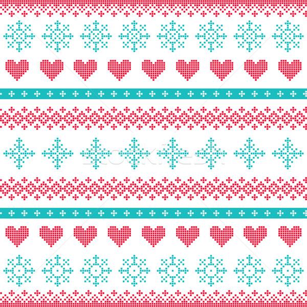 Tél karácsony végtelenített pixeles minta hópelyhek Stock fotó © RedKoala