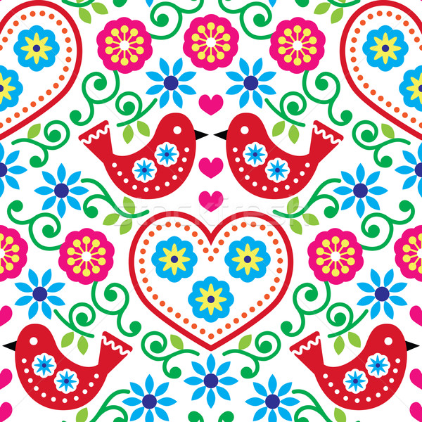 Folk art seamless pattern with flowers and birds Stock photo © RedKoala