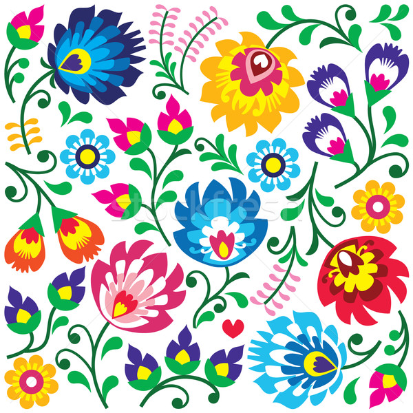 Floral Polish folk art pattern in square - Wzory Lowickie, Wycinanki  Stock photo © RedKoala
