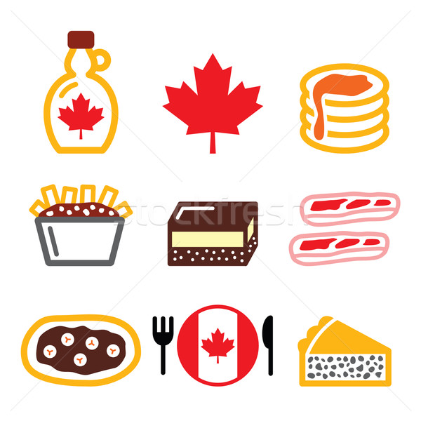 Canadian food icons - maple syrup, poutine, nanaimo bar, beaver tale, tourtiere  Stock photo © RedKoala