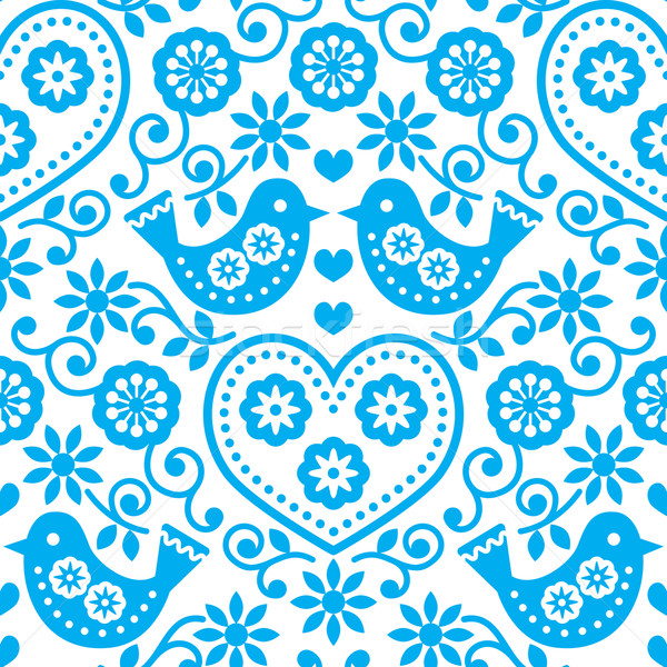 Folk art seamless blue pattern with flowers and birds Stock photo © RedKoala