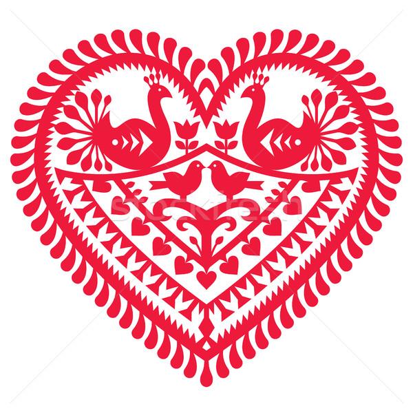 Polish folk art pattern for Valentine's Day - Wycinanki Kurpiowskie (Kurpie Papercuts)  Stock photo © RedKoala
