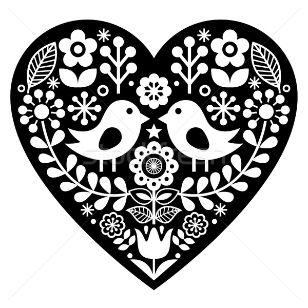 Scandinavian black folk art pattern with birds and flowers -  Valentine's Day, love concept Stock photo © RedKoala